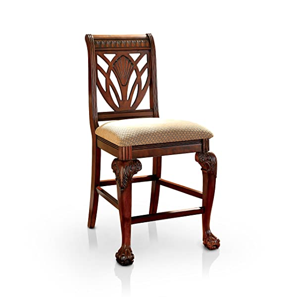 Furniture of America Bonaventure Traditional Style Pub Dining Chair, Cherry Finish, Set of 2