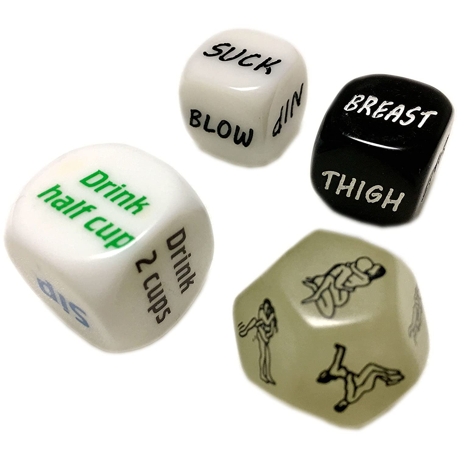 Amazon.com: U-Shark Glow 12 Face Spicy Sex Dice Game Toy for Bachelor Party  or Couples Novelty Valentine's Gift(1pc Glow Dice+1pc White Drink Dice+ 1  Pair ...