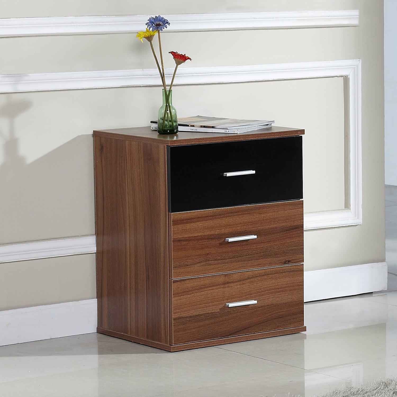 Prague Bedroom Furniture Prague Bedside Table Drawer Cabinet In Walnut With Black Glass