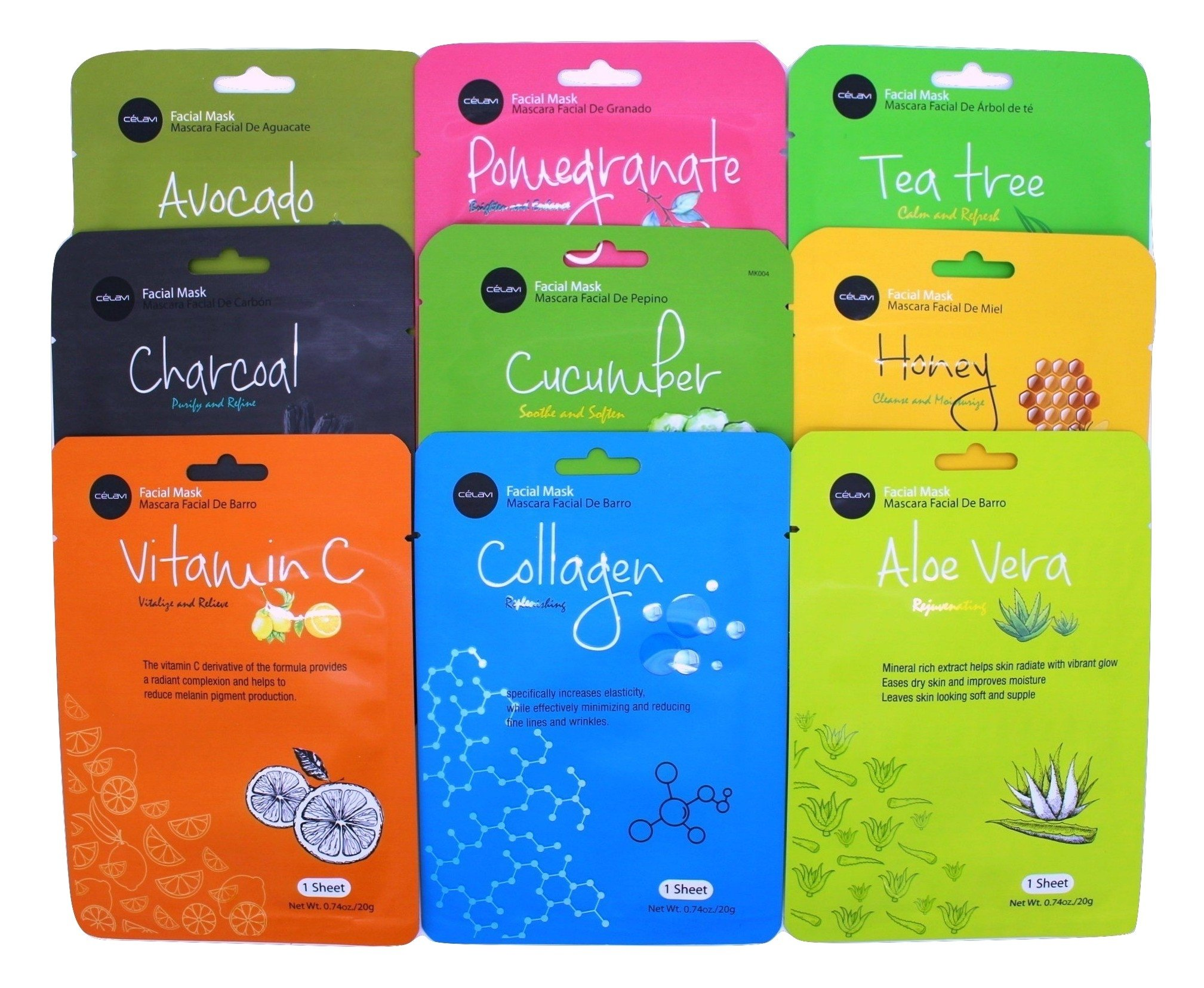 Celavi Essence Facial Mask Paper Sheet Korea Skin Care Moisturizing 9 Pack (Mix of 9)