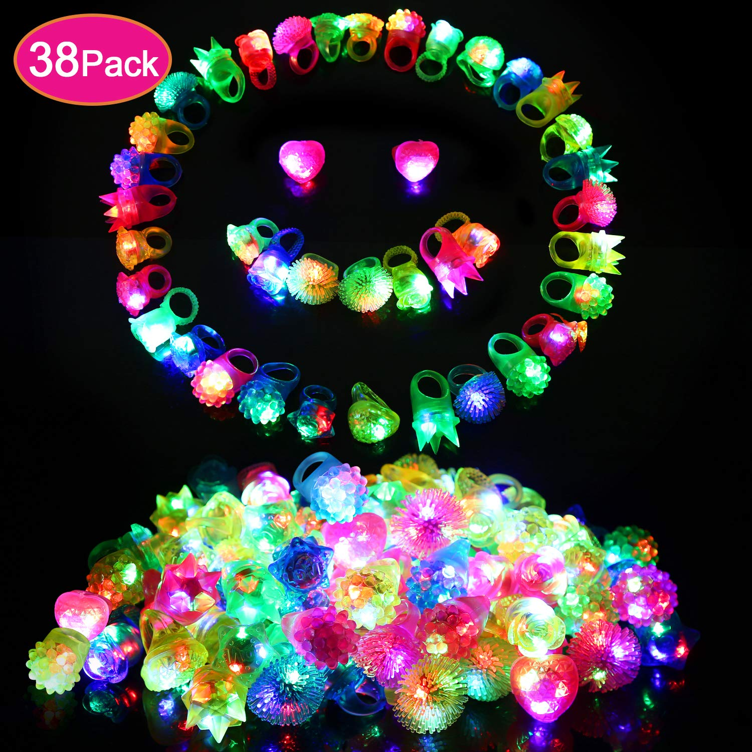 wellvo 38 Pack Light up Rings Party Favors for Kids Flashing Led Toys Glow in The Dark Party Supplies by wellvo