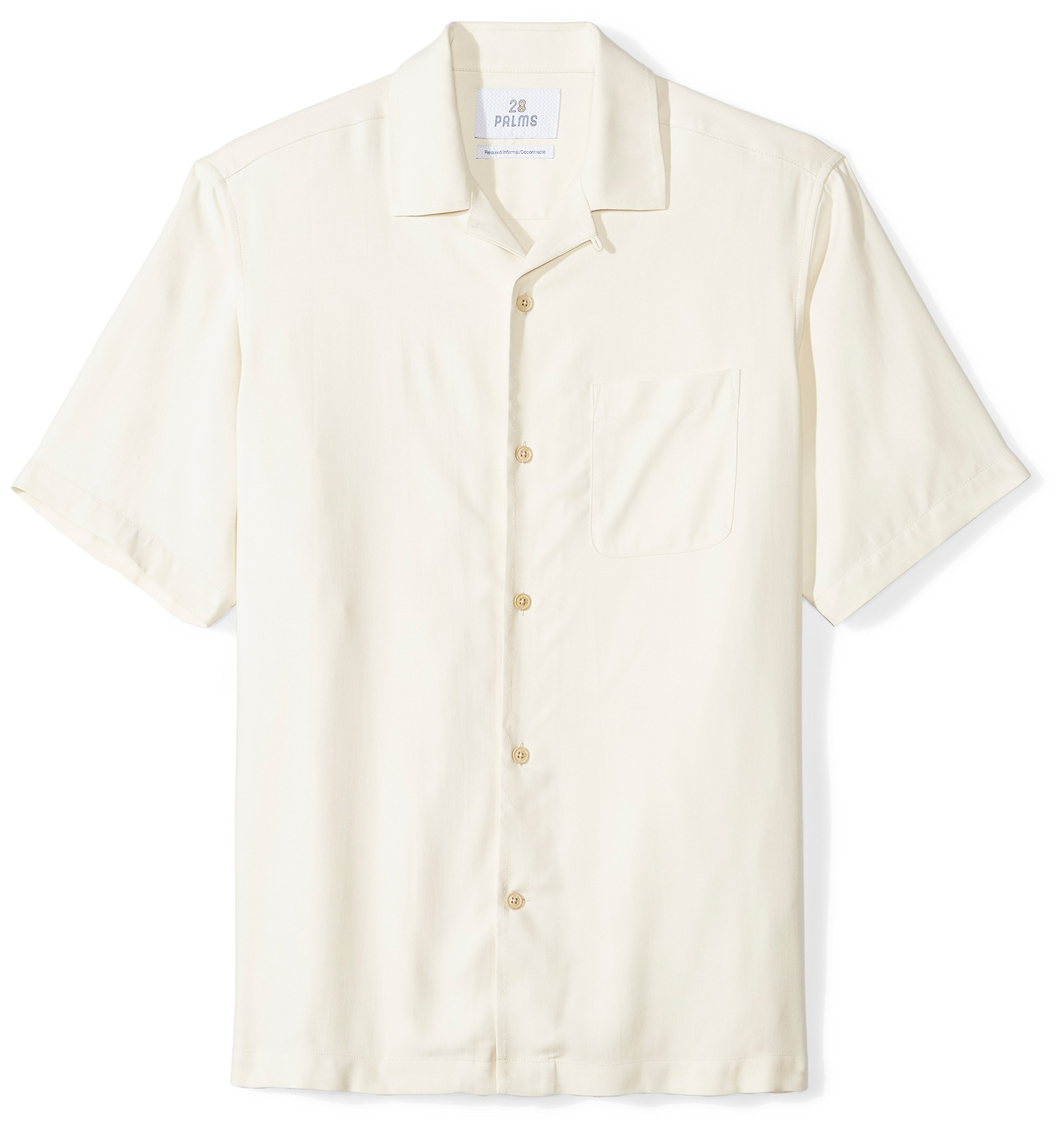 28 Palms Men's Relaxed-Fit 100% Silk Camp Shirt, Natural, Large