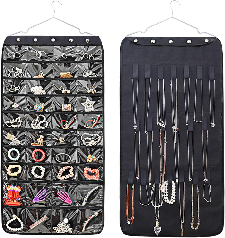 Viesap Organizador Colgante Para Joyas, 40 Bolsillos 20 Bucles Accesorios De Almacenamiento, Organizador De Joyas De Doble Cara Colgantes Pendientes Del Collar De La Pulsera, Hanging Jewelry Organizer