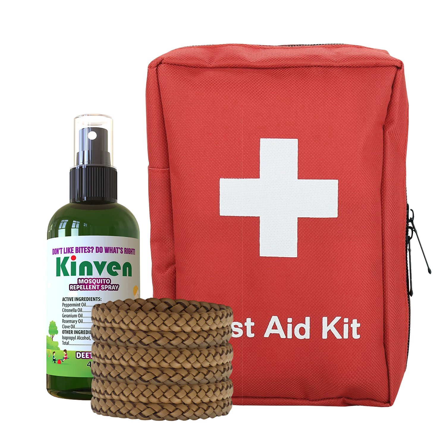 First Aid Kit and Insect Repellent Bundle - with 72 Piece Emergency Kit, Kinven 4oz Spray, 6 Bracelets (Travel Set)