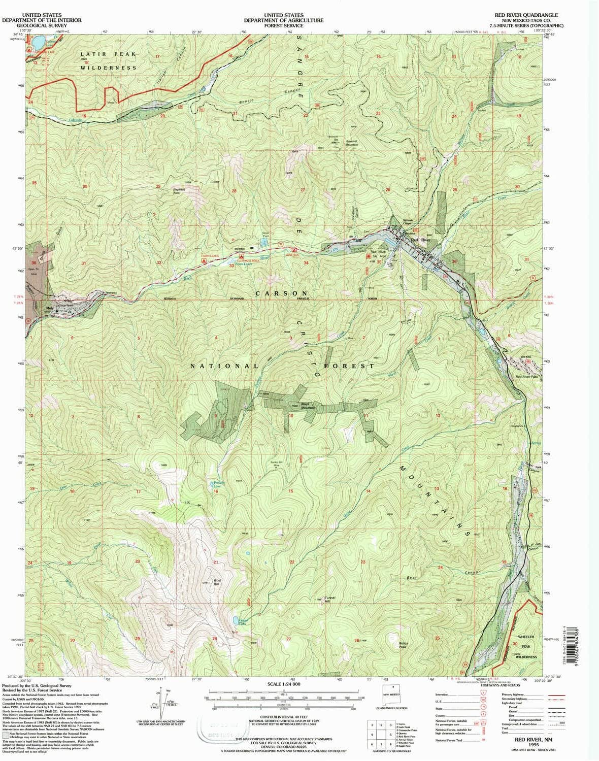 Amazon Com Yellowmaps Red River Nm Topo Map 1 24000 Scale 7 5 X 7 5 Minute Historical 1995 Updated 1997 27 X 22 In Paper Sports Outdoors