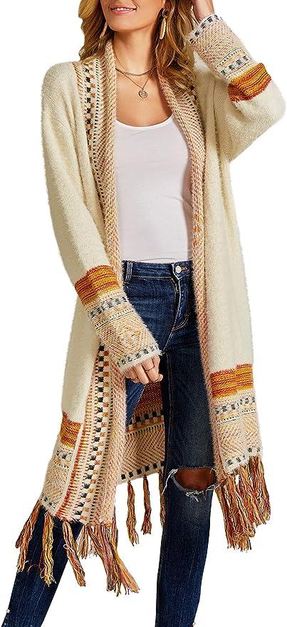 Misassy Women's Boho Open Front Long Cardigans Sweater