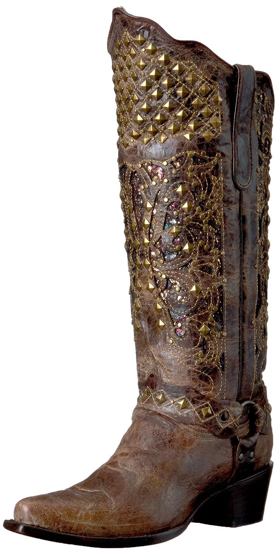 [Ferrini] レディースRebel Dist v-toe Western Boot 6 B(M) US Distressed Chocolate B01GJV4SSI