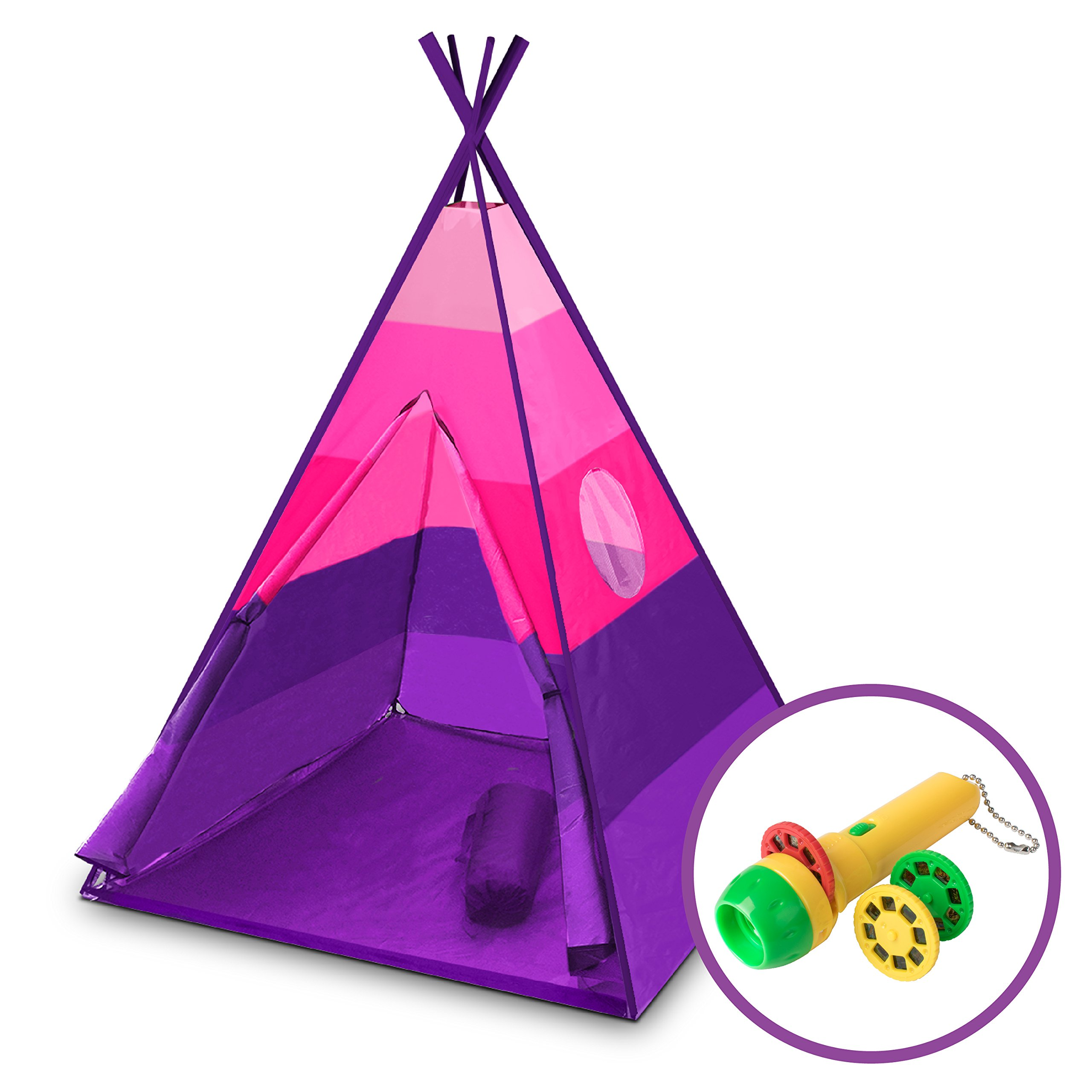 """USA Toyz Kids Teepee Tent - """"Happy Hut"""" Indoor Outdoor Teepee Tent for Kids w/ Safari Projector Light + EZ Pack Play Tent Tote for Kids Tent Travel (Pink)"""