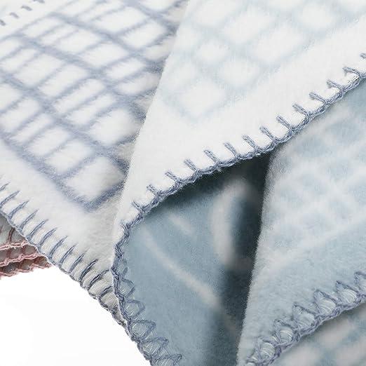 arrullo juegos Ideal para cuna cochecito azul claro gris Colcha infantil suave 100x140 cm ULLENBOOM Manta para beb/é de algod/ón