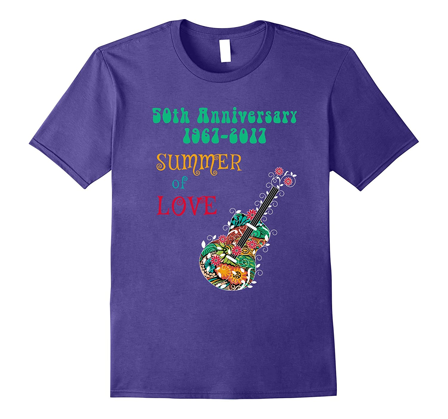50th Anniversary Summer of Love Hippie Abstract Guitar Tee-CL