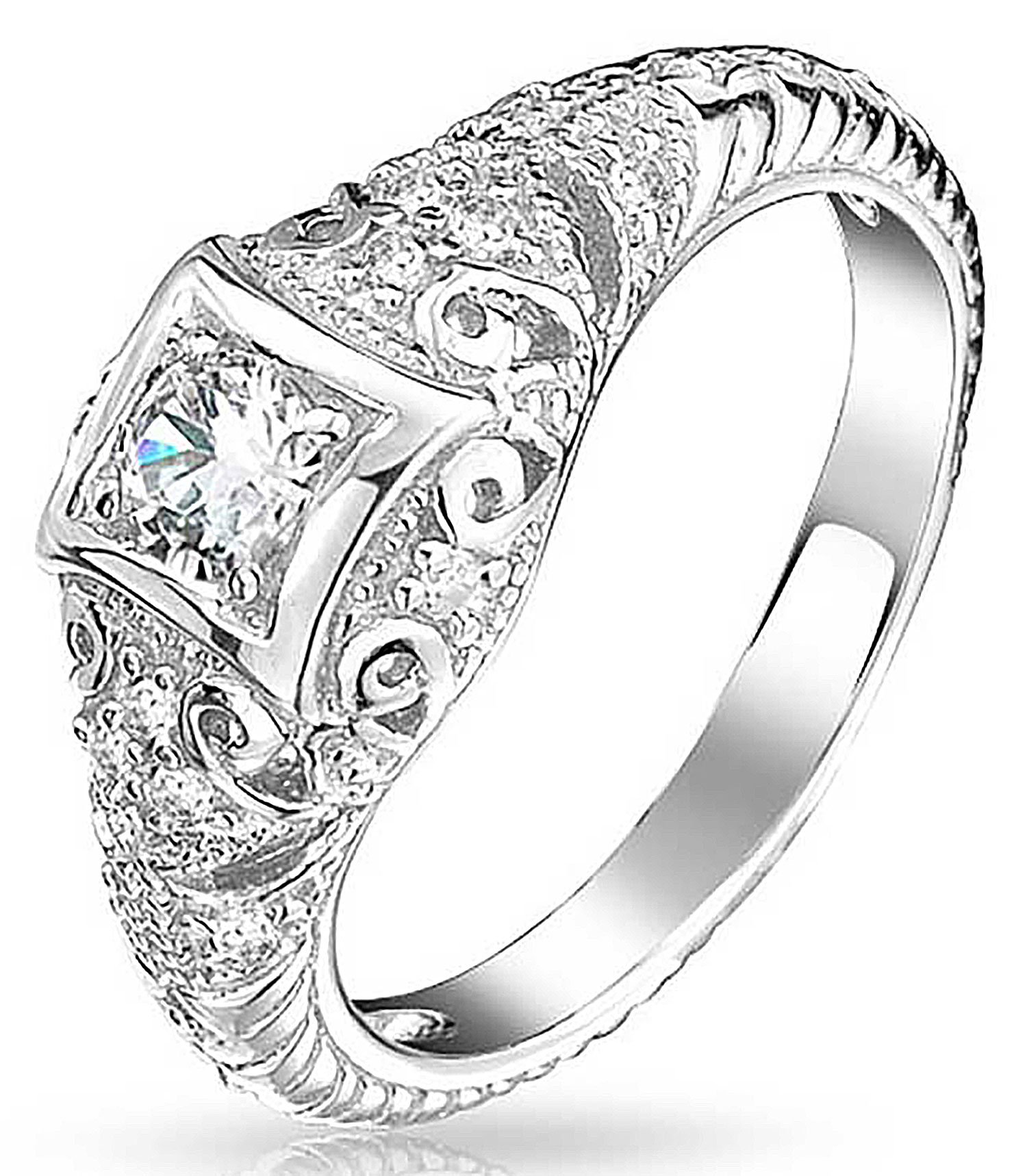 Bling Jewelry 925 Silver Art Deco Style CZ Solitaire Engagement Ring Vintage Style Milgrain Clear 8