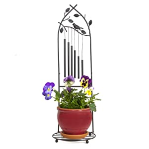 Iron Wind Chime - 11 Inches Cast Iron Wind Chime & Plant Holder - Perfect Home Decoration & Original Gift Idea - Easy Assembly & Free Standing Wind Chime Home Decor