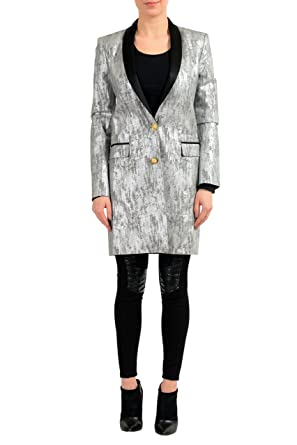 3a2d6f2d2c Versace Versus Silver Black One Button Women s Blazer Coat - Multi - US  X-Small
