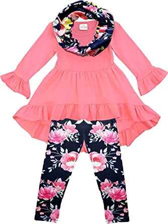 e55babc2bcda Boutique Toddler Girls Vintage Floral Tunic Legging Scarf Outfit Set Coral  Navy 2T/S