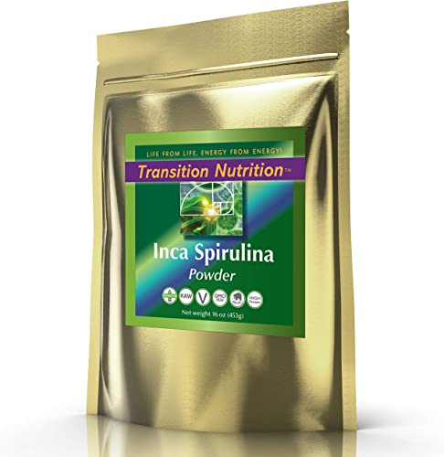 Transition Nutrition 16 oz Spirulina Powder Inca Raw Andes Mountains – Vegan and Gluten Free – Raw and Organic