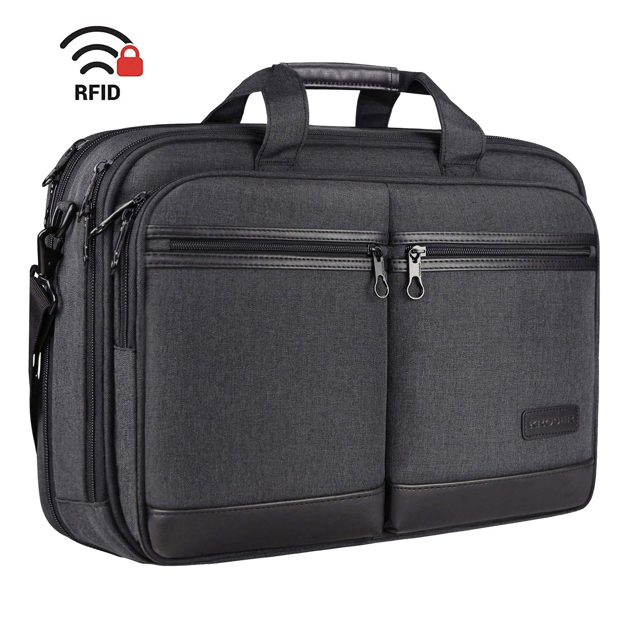 KROSER 18'' Laptop Bag Stylish Laptop Briefcase Fits Up to 17.3 Inch Expandable Water-Repellent Shoulder Messenger Bag Computer Bag with RFID Pockets for Business/Travel/School/College/Men/Women-Black