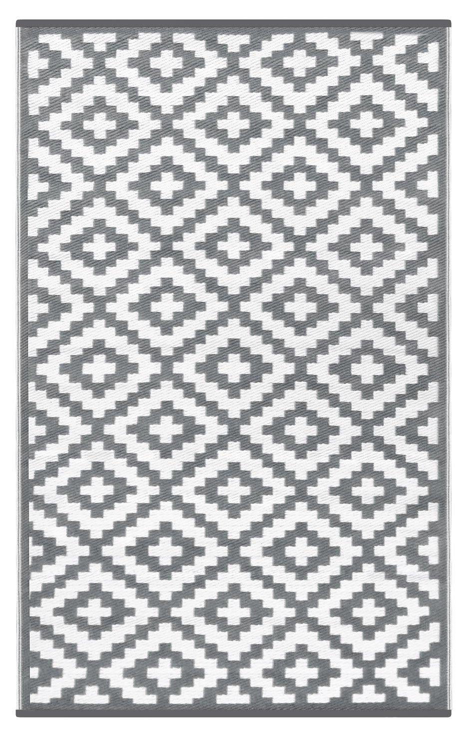 Green Decore Nirvana Rug - Alfombra ecológica para interiores y exteriores de plástico reciclado, ligera y reversible, Gris (Grey/White), ...