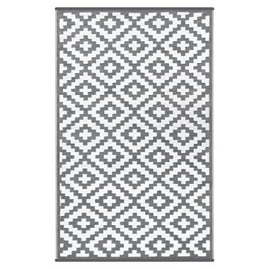 Lightweight Outdoor Reversible Plastic Nirvana Rug (4 X 6, Grey/White)