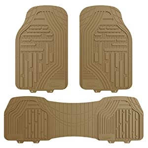 FH Group F11322 Supreme Rubber Trimmable Heavy Duty Floor Mats, Solid Beige