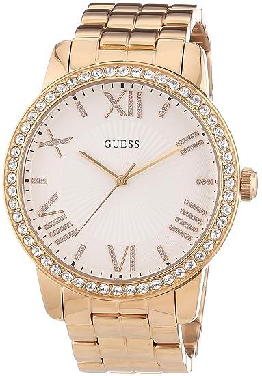 Guess - Reloj con correa de metal para mujer, color oro rosa: Amazon.es: Relojes