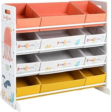 SONGMICS Estantería de Juguetes, Organizador Infantil con 12 Cajas de Tela No Tejida, para Juegos, Libros, Estantería para Niños, para Sala de Juegos, ...