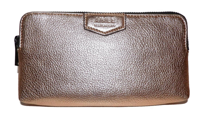 AIMEE KESTENBERG Gala Double Zip Rose Gold Metallic Clutch Wallet