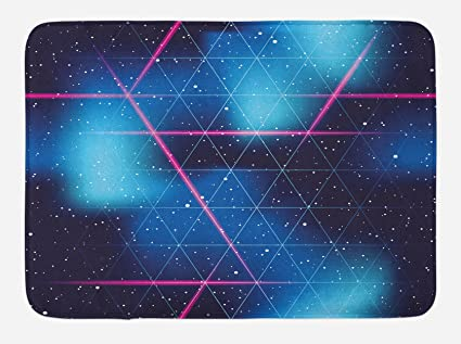 Amazon Com Ambesonne Navy And Blush Bath Mat By Eighties Inspired