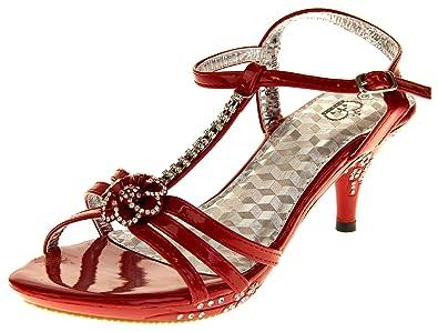 274647e3136aca Amazon.com  Ice Diamond Girls Low Heel Diamente Design Bridal ...