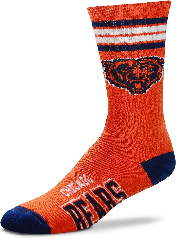 For Bare Feet NFL Mens Reverse 4 Stripe Deuce Crew Socks