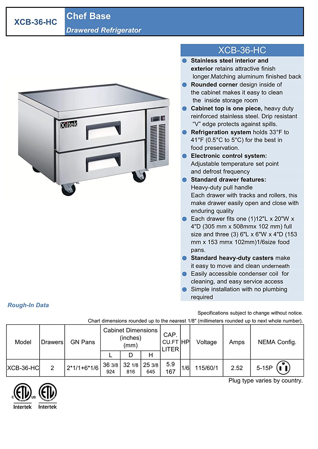 XILTEK COMMERCIAL 36 2 DRAWER STAINLESS STEEL REFRIGERATED CHEF BASE