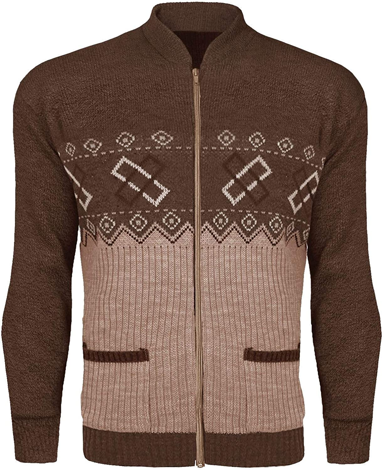 Mens Classic Zip UP Cardigan Argyle Knitwear Granddad Aztec Two Front Pockets Knitted TOP Long Sleeves Warm Winter Front Zipper Jumper