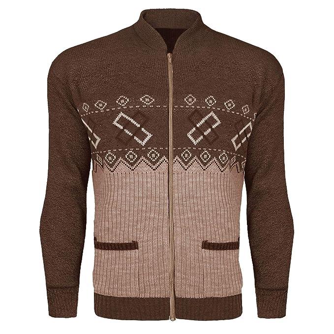 Lamour Mens Zip Up Classic Argyle Knitwear Aztec Granddad Cardigan Top