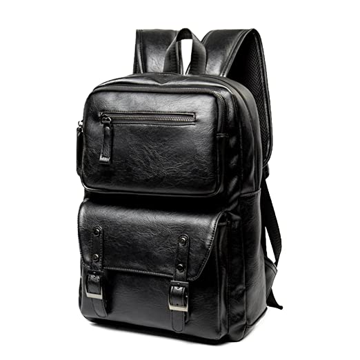 61c70b9c3dec Vintage PU Leather Backpack School College Bookbag 15.6 inch Laptop  Computer Backpack