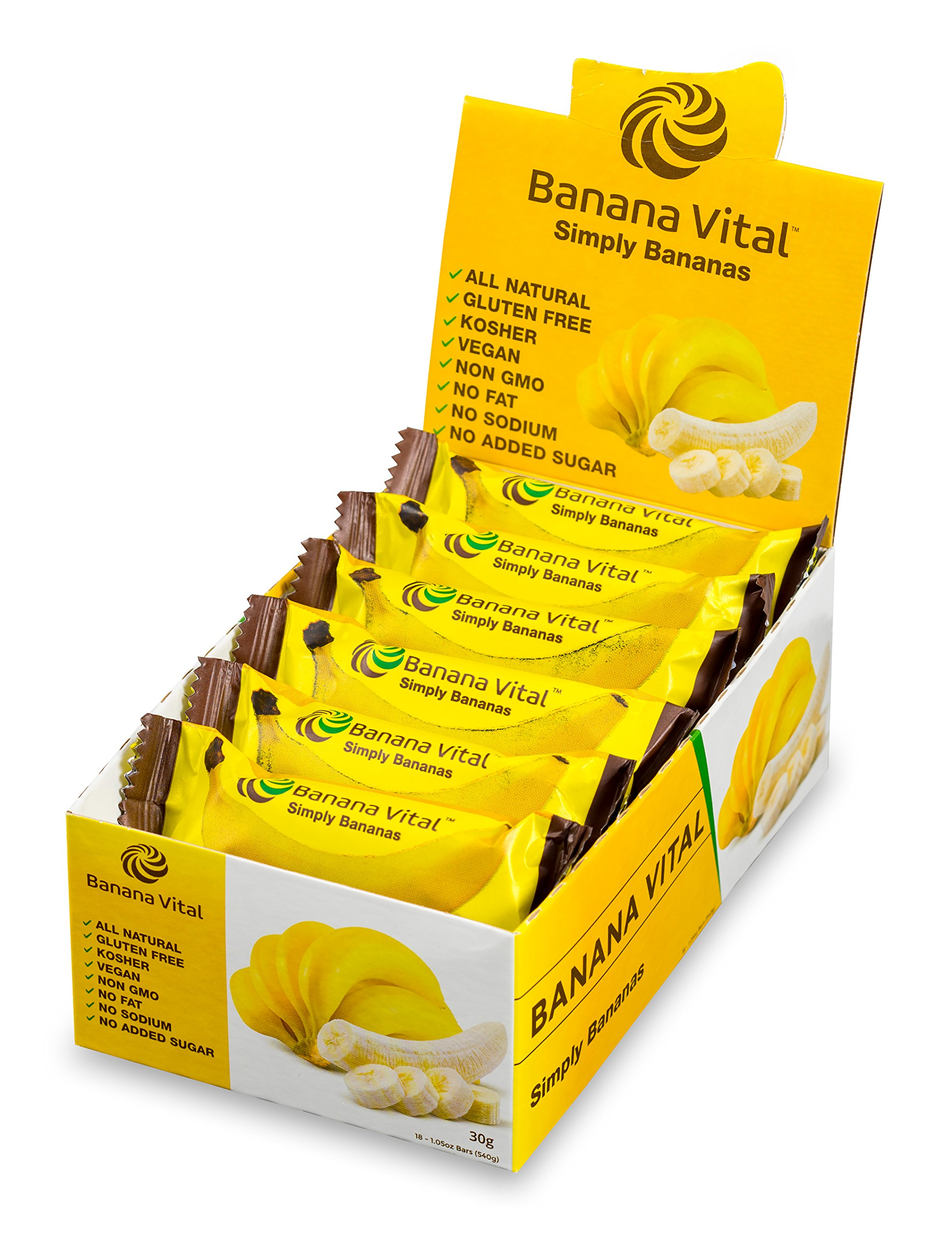 Banana Vital Bar - Simply Bananas - All-Natural Energy Bar Healthy Snack Gluten-Free Non-GMO Allergen-Free Low Calories Vegan Kosher Paleo Fat-Free No Preservatives No Added Sugar by Banana Vital, LLC