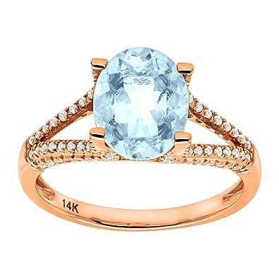 0be7195237871 Amazon.com: 2 1/5 ct Natural Aquamarine & 1/4 ct Diamond Ring in 14K ...