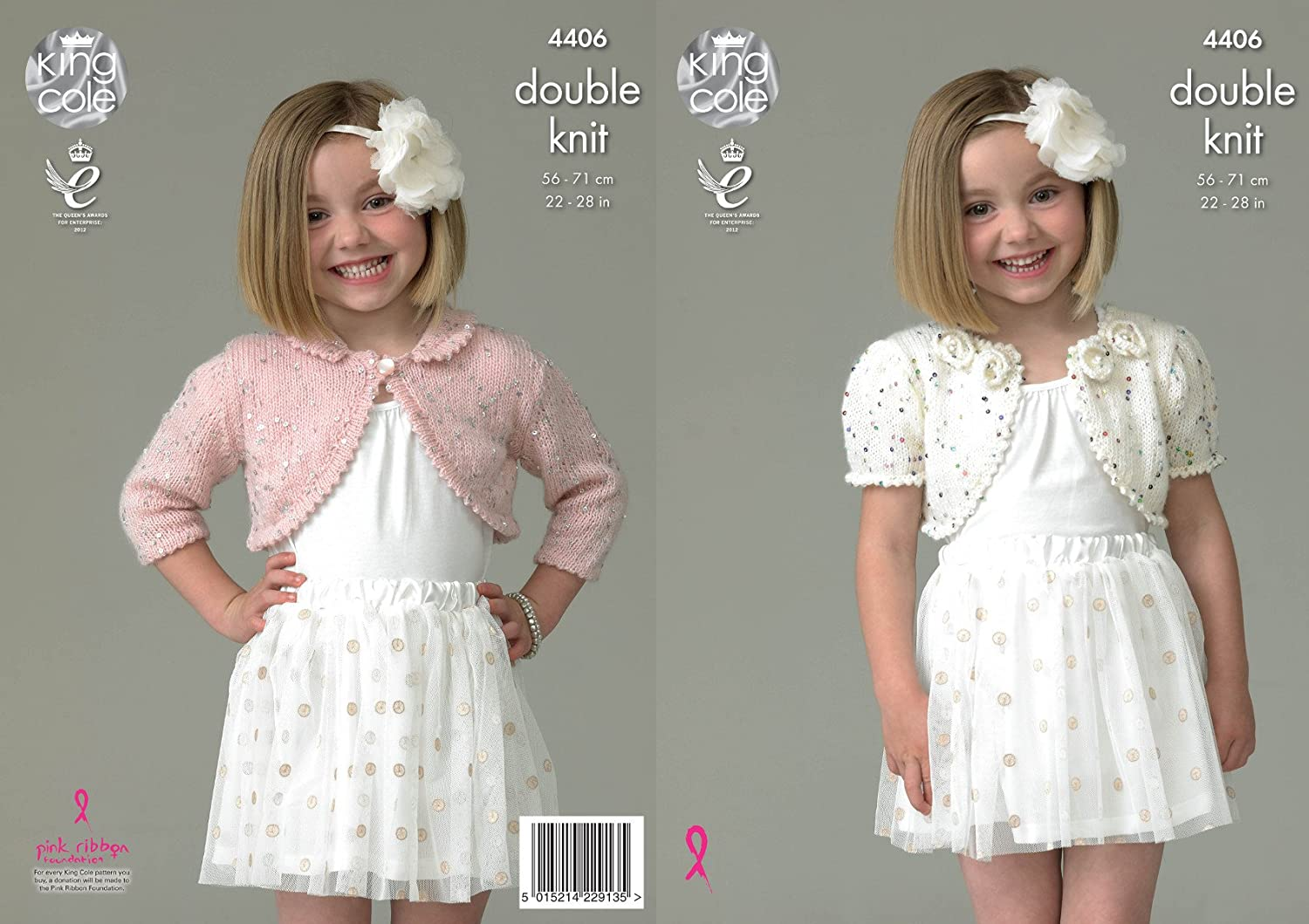 King Cole Galaxy Double Knitting Pattern Childrens Girls Boleros with Flower Detail or Collar (4406)