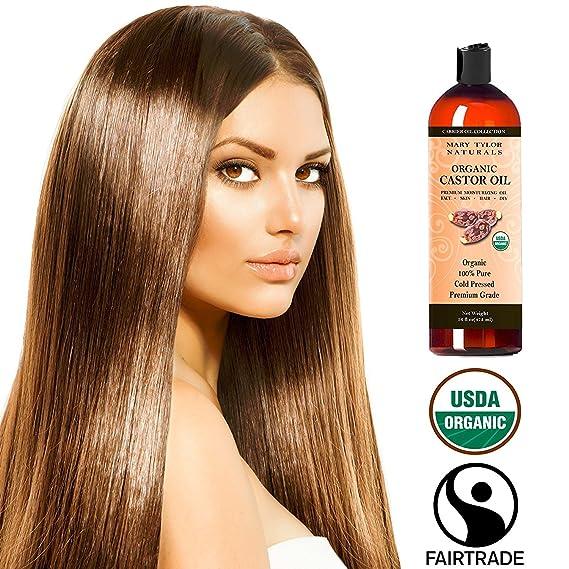 Mary Tylor Naturals Orgánica Aceite de ricino 16 Oz certificado USDA orgánica, grado, prensado en frío, 100% puro, increíble crema hidratante para la piel ...