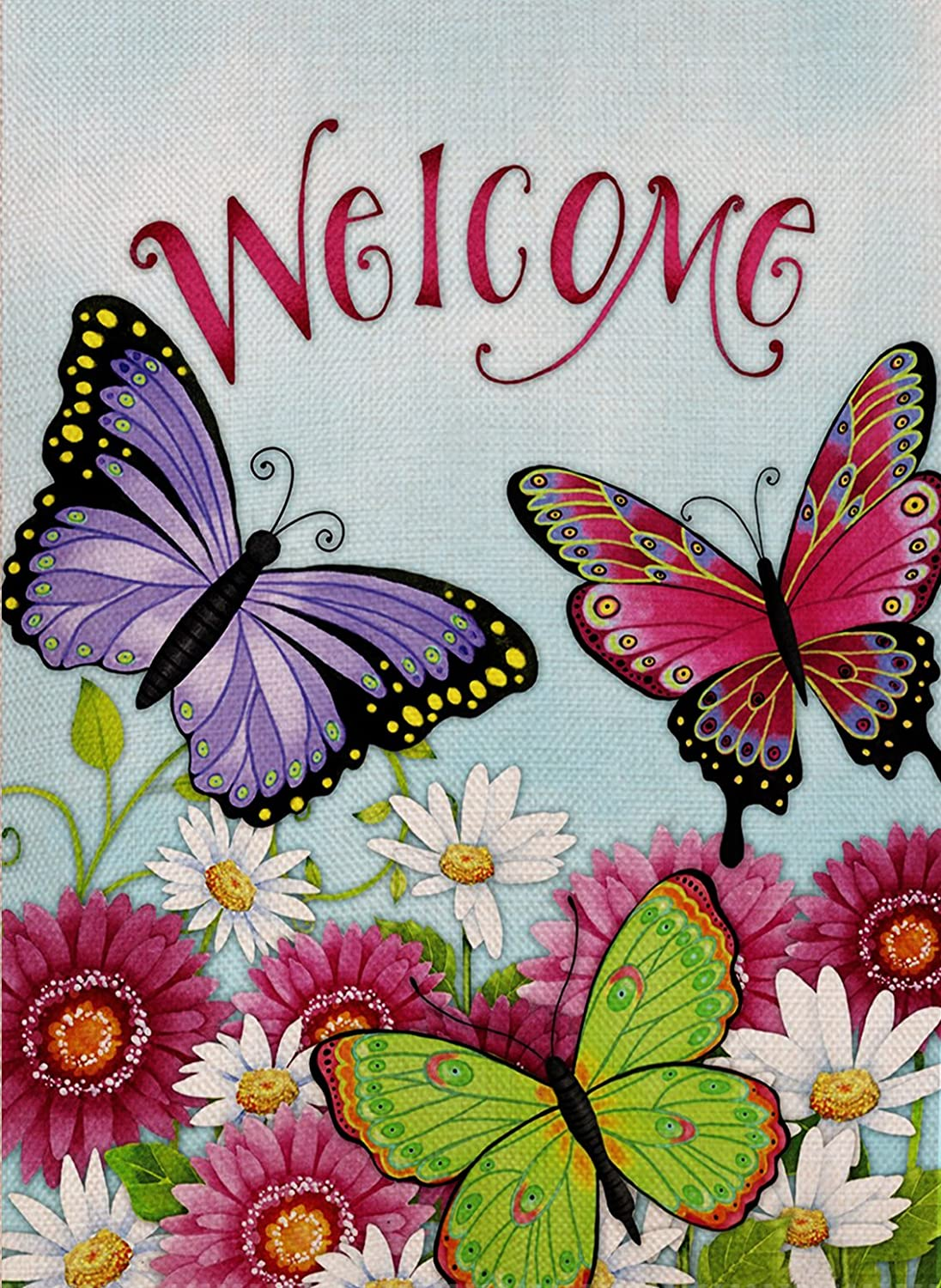 Dyrenson Butterfly Garden Flag Welcome Quote Double Sided, Flower House Yard Flag Daisies, Summer and Spring Sunflowers Garden Yard Decoration, Home Decorative Seasonal Outdoor Flag 12 x 18