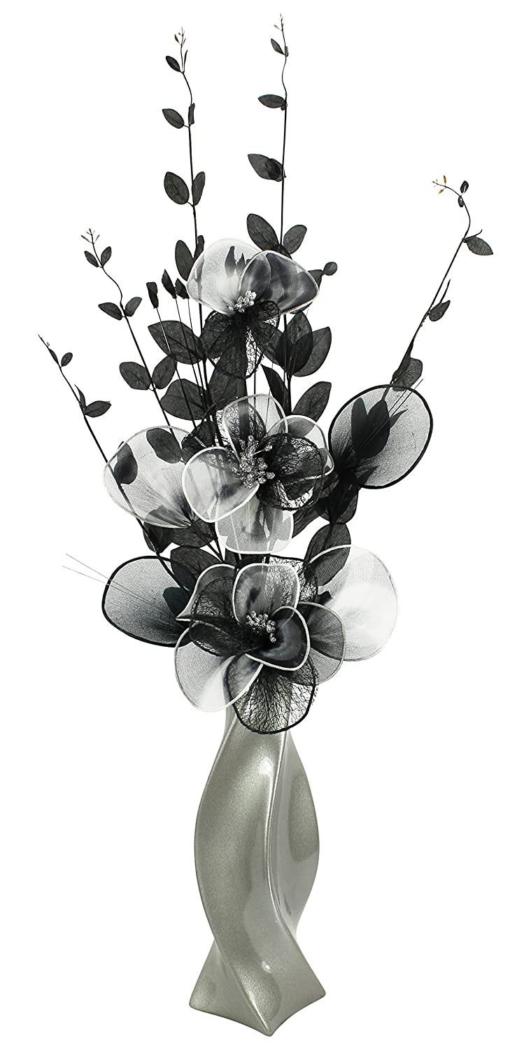 Dark Grey Vase with Black and White Artificial Flowers, Ornaments for Living Room, Window Sill, Home Accessories, 80cm Flourish 722746