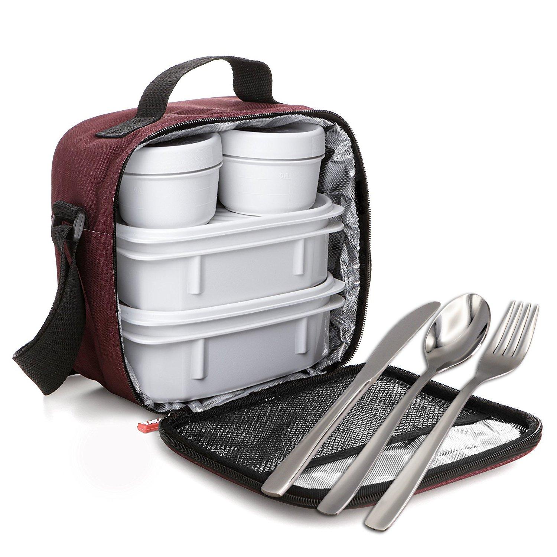 PracticFood TATAY Kit Urban Food Blu Navy Opak con Posate - Porta Alimenti da Zaino con Ermetici Incluso, Misure 10 x 22.5 x 22 cm