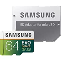 Samsung EVO Select 64GB Class 10 UHS-I U3 100MB/s 600x microSDXC Memory Card with Adapter (MB-ME64GA/AM)