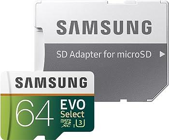 Samsung EVO Select 64GB Class 10 UHS 3 microSDXC Card w/Adapter
