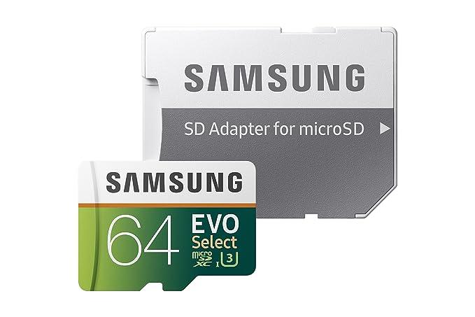 Samsung 64GB 100MB/s (U3) MicroSDXC EVO Select Memory Card with Adapter (MB-ME64GA/AM)