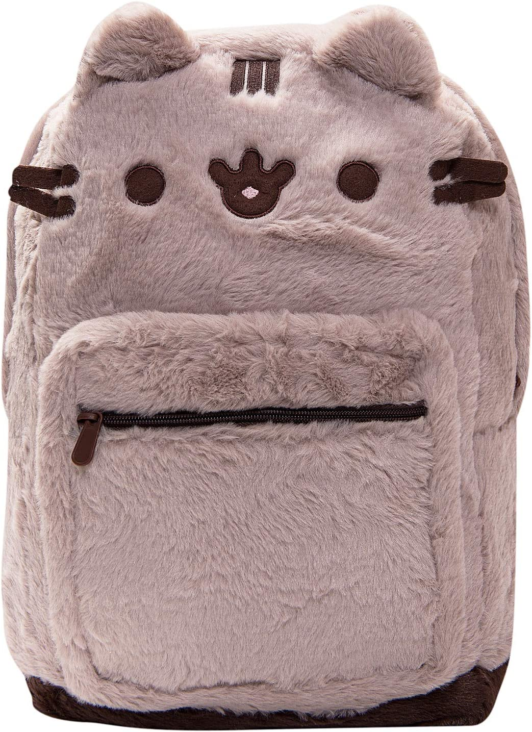 Pusheen The Cat Backpack With Cat Face for girls Fuzzy Backpack for Everyday Use - Brown Fur