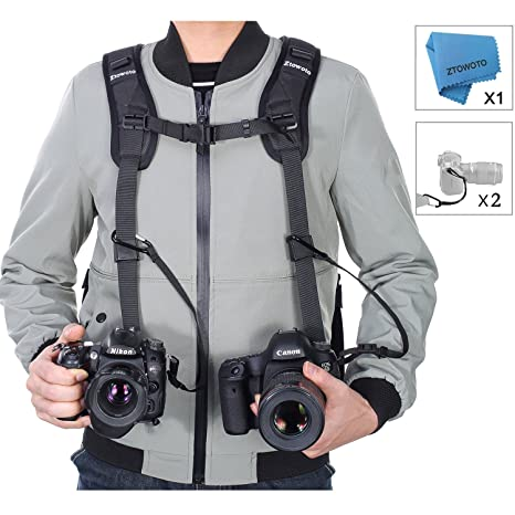 267dbc6bb76 Amazon.com   Camera Shoulder Double Strap Harness Quick Release Adjustable  Dual Camera Tether Strap and Safety Tether for DSLR SLR Camera (ztowoto)    ...