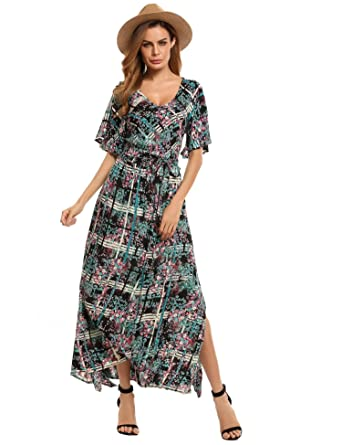7b0b45afc1 TelDen Women Long Floral Boho Dress Print Casual Beach Bohemian Dress  Vintage Retro Short Sleeve Maxi Party Dress Dresses at Amazon Women's  Clothing store: