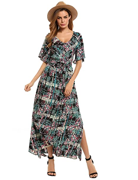 e78aa7e23e Image Unavailable. Image not available for. Color: neudas Women Long Floral  Boho Dress Print Casual Beach ...