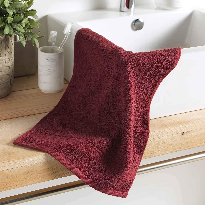 1001KDO POUR LA MAISON Serviette de Toilette Invite 30 x 50 cm Colors Bourgogne