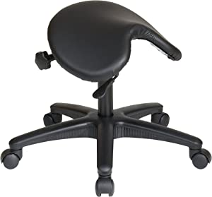 Office Star Backless Office Stool with Saddle Seat and Angle Adjustment, Black, 19 to 24-Inch Adjustable Height