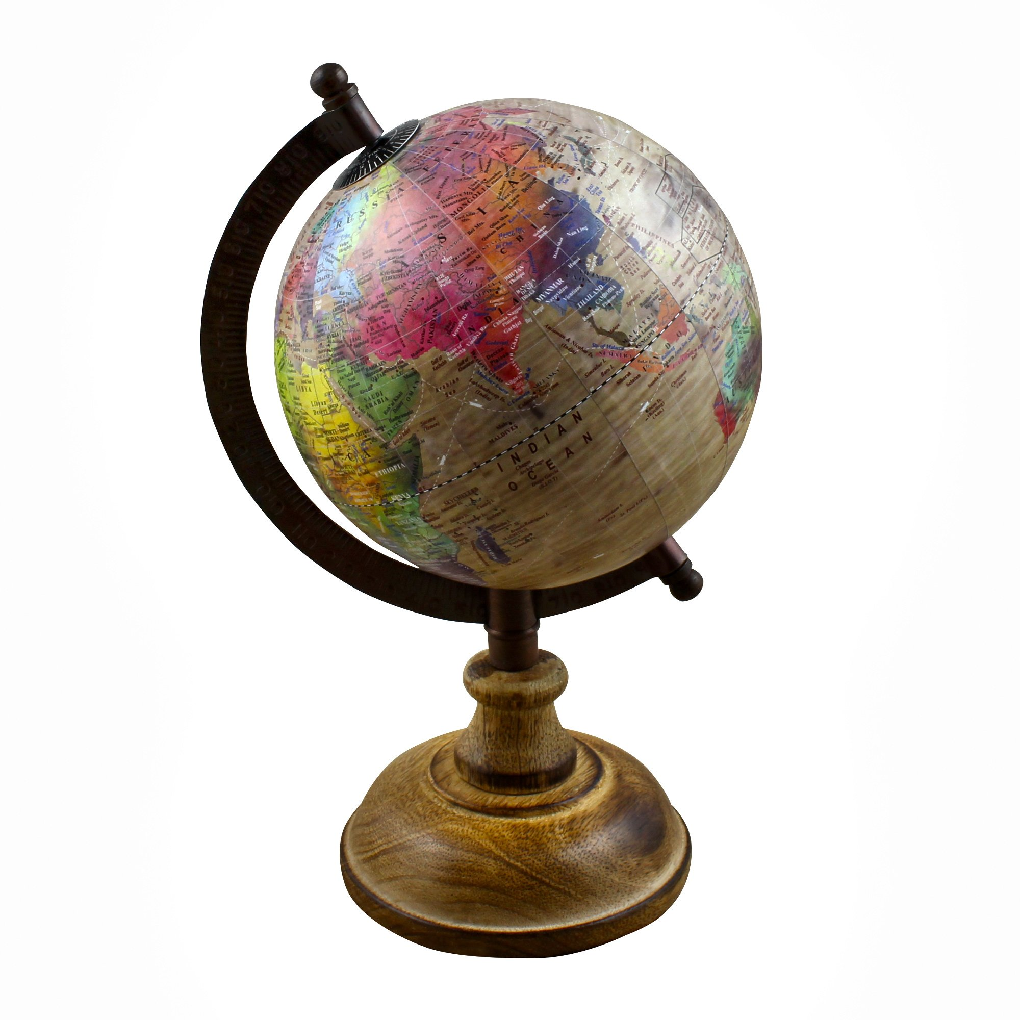 Fathers Day Gifts!! Desktop Political Globe World Map with Stand Learning Resources for Teachers, Table Décor, Office & School, 9.5 Inches